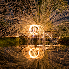 Steel Wool Bridge by Trey Mortensen - Abstract Light Painting ( steel wool, night, bridge, sparks )