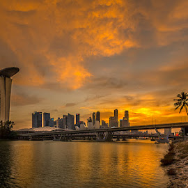 Golden Hour at Marina Bay.. by Hendrik Priyanto - City,  Street & Park  Skylines ( sunset, architecture, cityscape, landscape, singapore, golden hour )