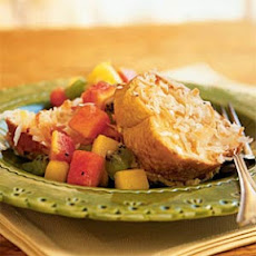 Baked Coconut French Toast with Tropical Fruit Compote