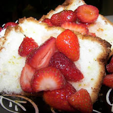 Angel Food Cake With Fresh Fruit and Lime Drizzle