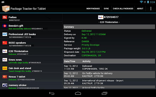 Package Tracker for Tablet
