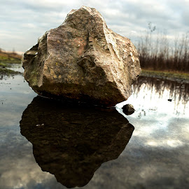 rock by Andrew Percival - Nature Up Close Water ( water, reflection, sky, nature, rock, landscape )