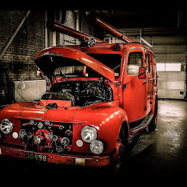 Old firetruck by Stefan Nyberg - Transportation Automobiles ( truck, device, land, volvo, transportation, fire )