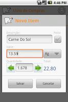 Screenshot of Shop List