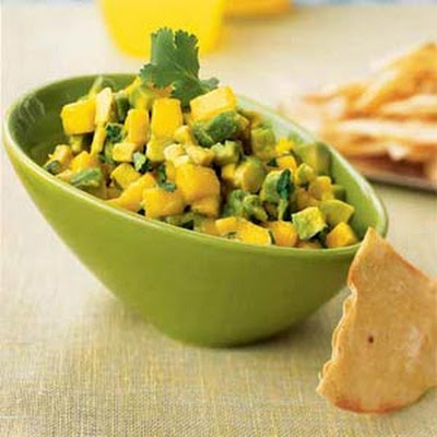 Avocado-Mango Salsa with Roasted Corn Chips