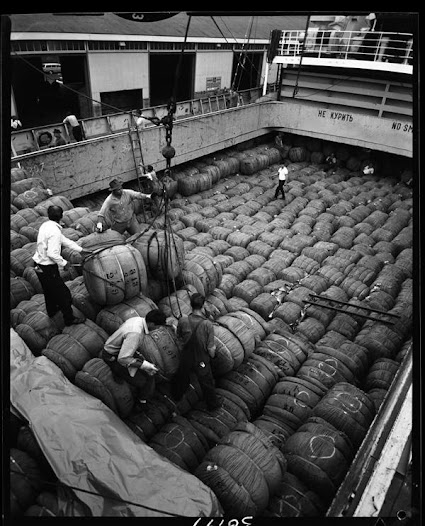 In the first half of the 20th century, barrels, boxes and bales were commonly hauled on and off ships, unlike the containers that hold cargo today.