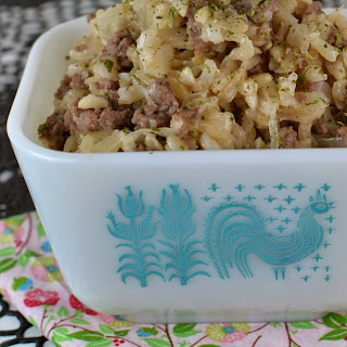 Ground Beef and Brown Rice Sauerkraut Skillet