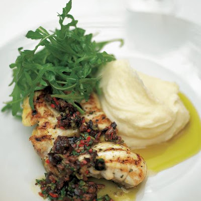 Grilled Or Roasted Monkfish With Black Olive Sauce & Lemon Mash