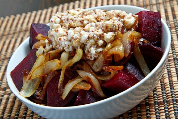 Beets and Caramelized Onions with Feta