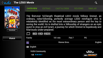 Screenshot of VUDU Movies and TV