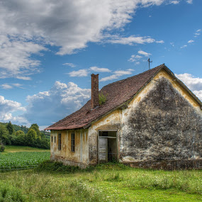 Yellow house by Milan Z81 - Buildings & Architecture Decaying & Abandoned ( clouds, field, old, colorful, yellow, house, abandoned )