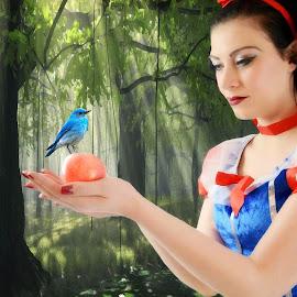 Snow White  by Lisa Kirkwood - Digital Art People ( snow white woman bird trees theme woods )