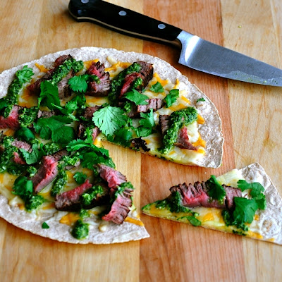 Open-Face Steak Quesadilla & Chimichurri Sauce