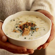 Leek and Fennel Chowder with Smoked Salmon