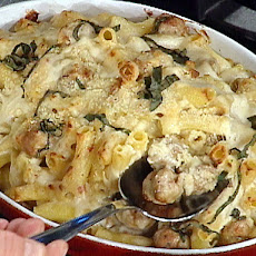 Baked Ziti in a Mornay Sauce with Italian Sausage and Fennel
