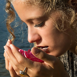 With rose by Kwa Klok - People Portraits of Women ( ring, rose, curly, blond, lake, fashion photography )