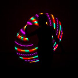 Light Loops by Rachel Pindroh - People Musicians & Entertainers ( hula hoop woman light colorful )