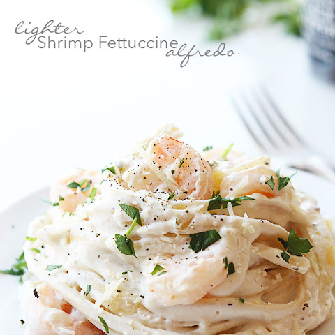 Lighter Shrimp Fettuccine Alfredo