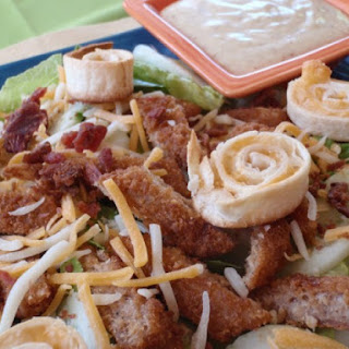 Fried Chicken Salad With Tortilla Spirals