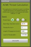 Screenshot of ACME Thread Calculation