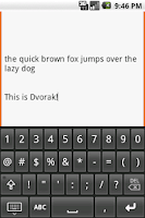 Screenshot of Dvorak keyboard
