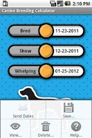 Screenshot of Canine Breeding Calculator
