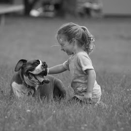 Love by Liz Childs - Babies & Children Children Candids ( playing, girl, boxer, candid, dog,  )
