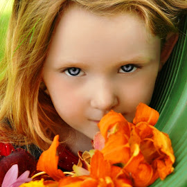 Smell the Lillies by Cheryl Korotky - Babies & Children Child Portraits ( portrait ideas, lily, a heartbeat in time photography, amazing faces, beautiful children, child model nevaeh, tiger lily, orange lily )