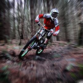 zoom burst by Callum Goddard - Sports & Fitness Cycling ( abstract, zoomburst, zoom, mounatinbiking, grenoside,  )