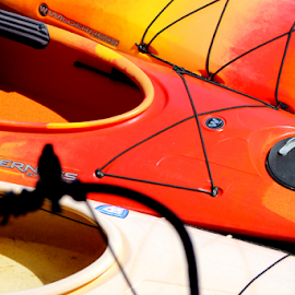 Kayaks Up Close by Leah Zisserson - Transportation Boats ( red, kayaks, abstraction, boats, massachusetts, rockport )