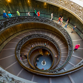 Vatican Spiral Staircase by Bill Kuhn - Buildings & Architecture Public & Historical ( roma, vatican city, stairs, europe, rome, muesum, staircase, travel, spiral, vatican, itialia, italy )