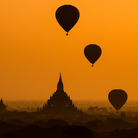 Sunrise with 3 Balloons over Pagoda at Bagan, Myanmar by Vorravut Thanareukchai - Landscapes Sunsets & Sunrises ( myanmar, sunrise, balloon, bagan )