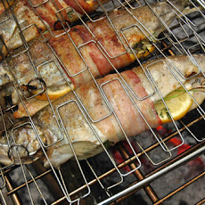 Campfire Trout with Herbs and Bacon Recipe