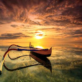 Sunbathing Morning by Made Geriaputra - Transportation Boats