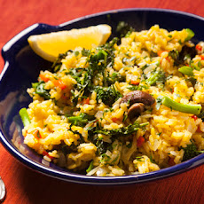 Paella with Roasted Mushrooms and Broccoli Rabe