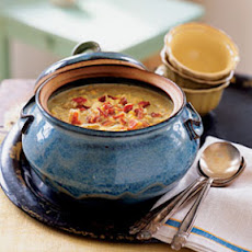 Corn and Fingerling Potato Chowder with Applewood-Smoked Bacon