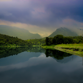 Riverside by Shoubhik Pande - Novices Only Landscapes ( reflection, monsoon, moutains, greenery, river )
