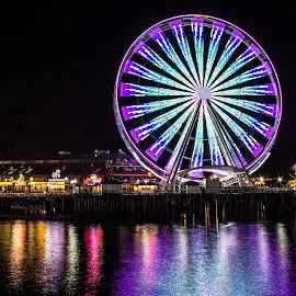 Seattle Wheel by Gabriel Gutierrez - City,  Street & Park  Night ( night photography, seattle, pier, travel, ferris wheel )