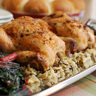 Roasted Cornish Game Hens with Bacon-Herb Butter