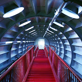 Atomium by Sara Kager - Buildings & Architecture Other Interior ( lights, stairs, red, stairway, lighting, blue, staircase, belgium, space, brussels )