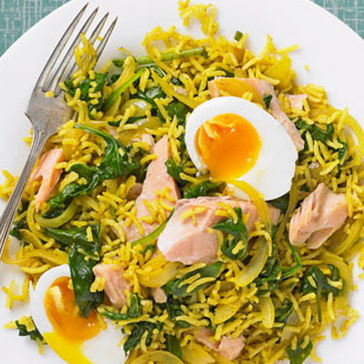 Hot Smoked Trout And Spinach Kedgeree