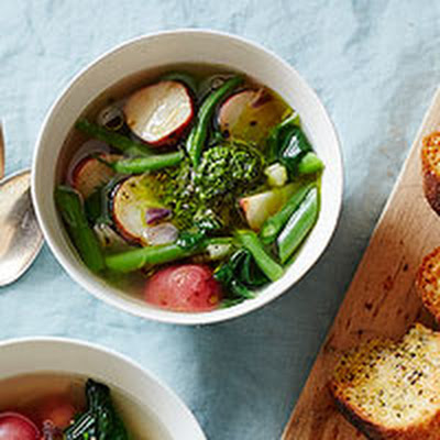 Very Veggie Soup with Parmesan Toasta
