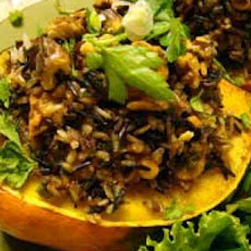 Stuffed Acorn Squash W/ Wild Rice & Mushrooms *vegetarian*