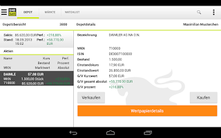 Screenshot of DAB Bank mobile