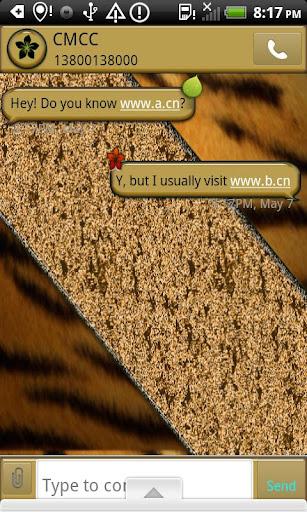 GO SMS THEME GoldLeafTiger
