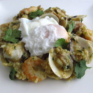 Mixed Bread With Seafood And Poached Eggs