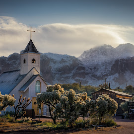 Elvis Chapel sunrise by Joe Neely - Buildings & Architecture Places of Worship ( historical church, snow on mountain, desert, church, superstition mountains, elvis, elvis chapel sunrise, sunrise, chapel )