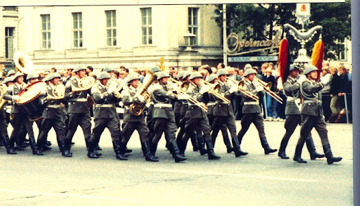 East German society was highly militarised with conscription and regular parades of the NVA (National People's Army)