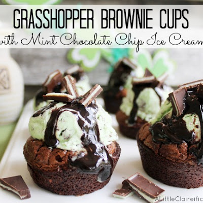 Grasshopper Brownie Cups | Mint Chocolate Goodness