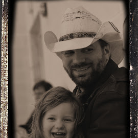 Pretty Bird and Her Daddy by Sue Ferneau Thompson - People Family ( cowboy, black and white, daddy, happy, daughter, handsome, smile, smiles, pretty,  )